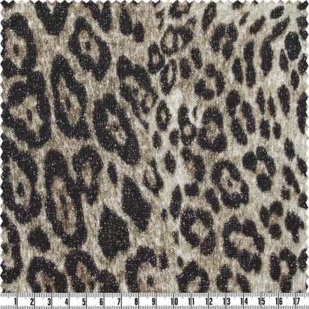 Lurex-Strick - Leoprint - braun