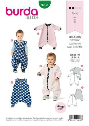 Burda Schnittmuster - 9298 - Kinder Schlaf-Overall