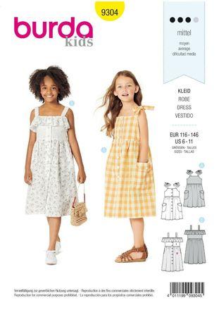 Burda Schnittmuster - 9304 - Kinder Kleid