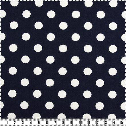 Baumwoll-Stretch - Big Dots - marine/weiß