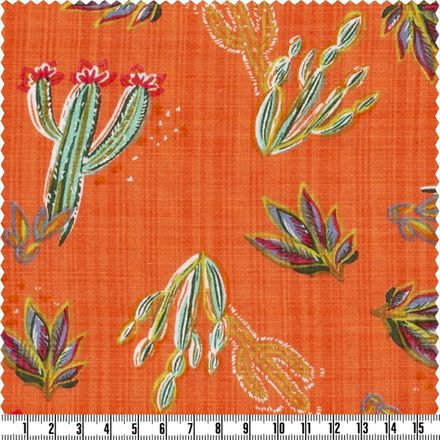 Baumwoll-Viscose Modestoff - Kakteen - orange