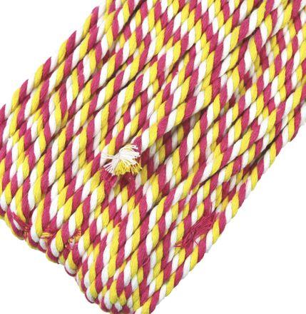 Multicolor Kordel - 6 mm - weiß/pink-gelb