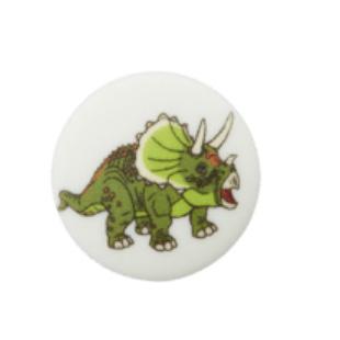 Polyester-Kinderknopf - Dino - weiß
