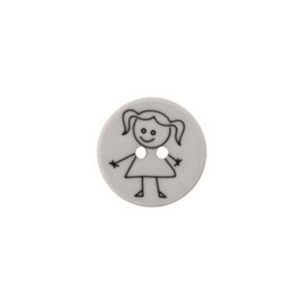 Polyester-Kinderknopf - Mädchen - grau