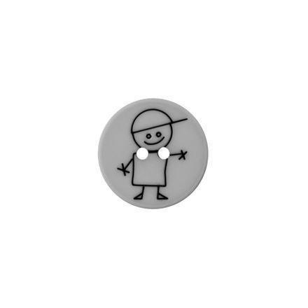 Polyester-Kinderknopf - Junge - hellgrau