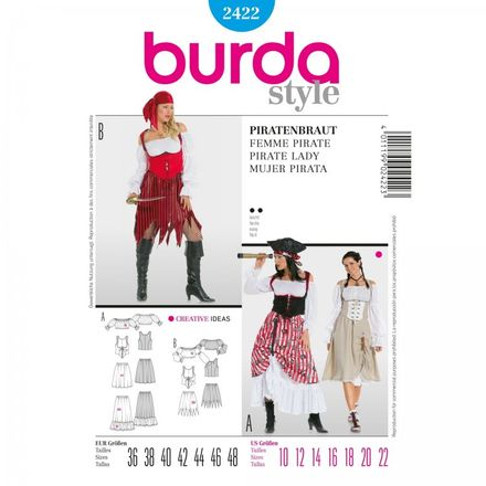 Burda Schnittmuster - 2422 - Damen Kostüm Piratenbraut - Piratin