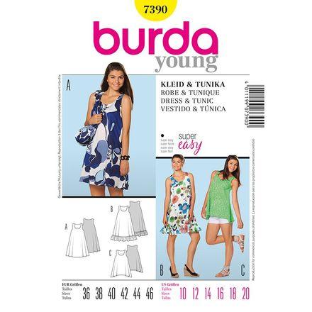 Burda Schnittmuster - 7390 - Young - Kleid & Tunika