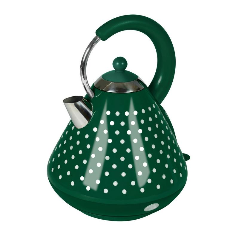 Edelstahl Wasserkocher 1,7 Liter 3000 Watt grün weiß gepunktet NEU*25457
