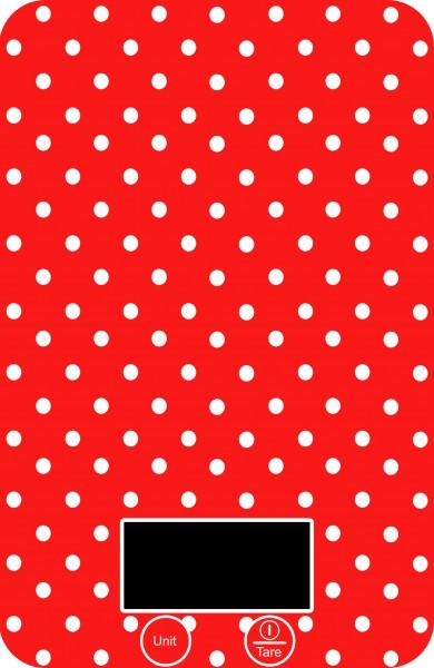 Digitale Küchenwaage im roten Retro-Pünktchenmuster