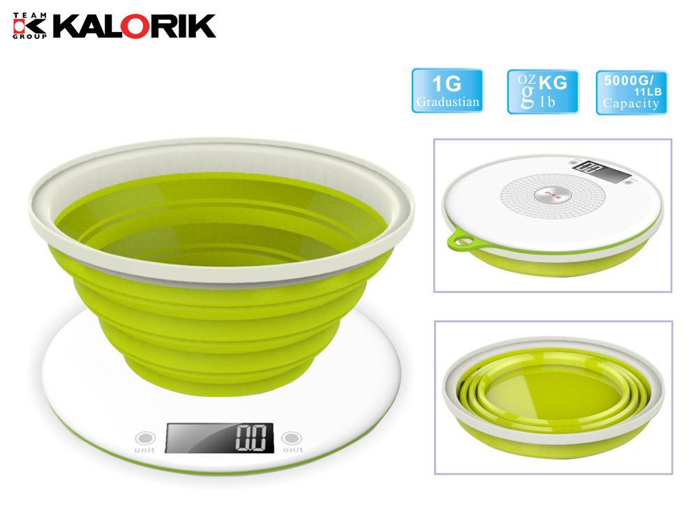 Digitale Küchenwaage inkl faltbarer Silikonschüssel bis 5 kg grün weiß NEU*91813