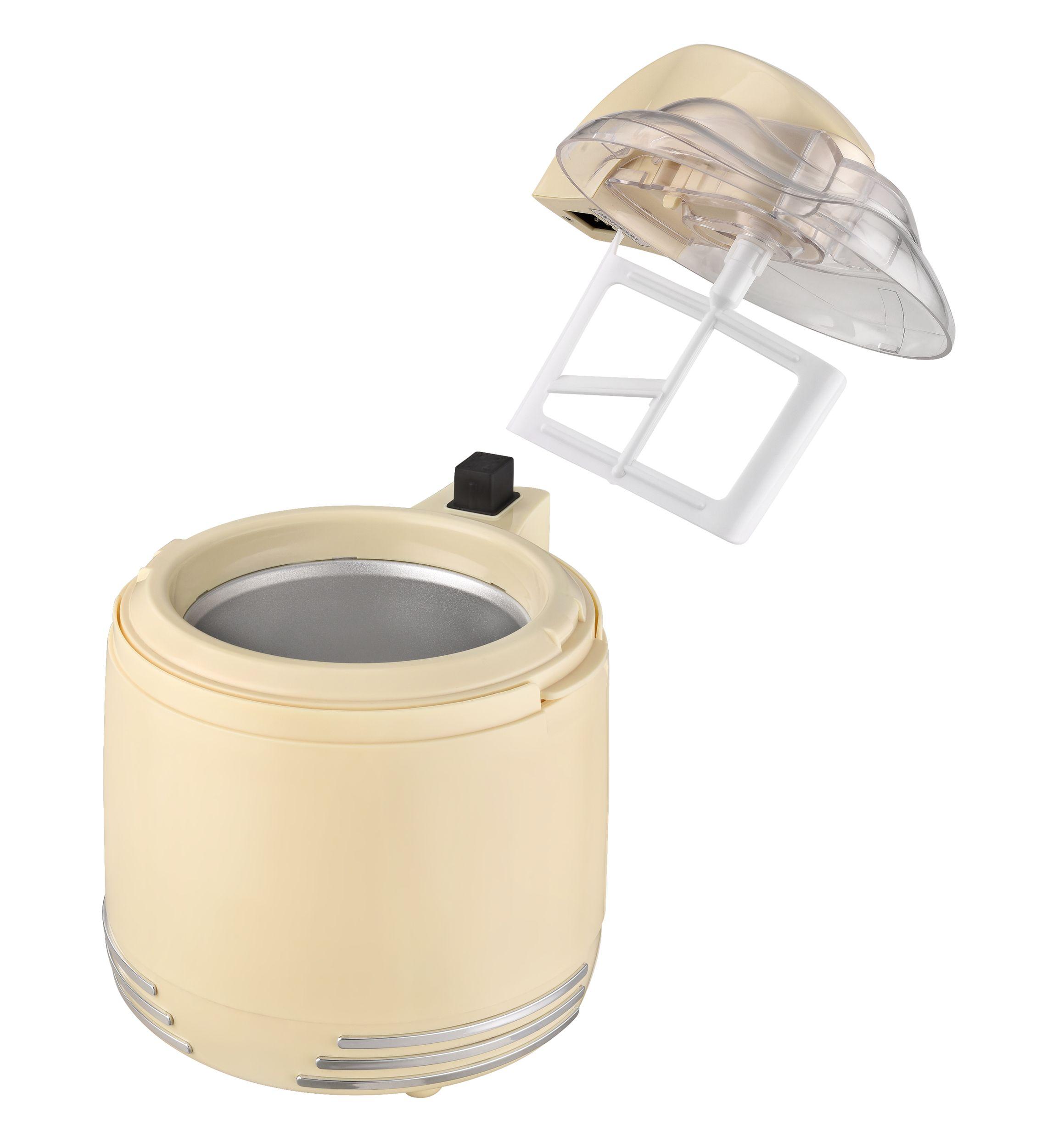 2 in 1 Retro Eismaschine Joghurtbereiter Eiscreme Joghurt Maker Kühlgefäß creme-weiß NEU 15 W *93053 Bild 7