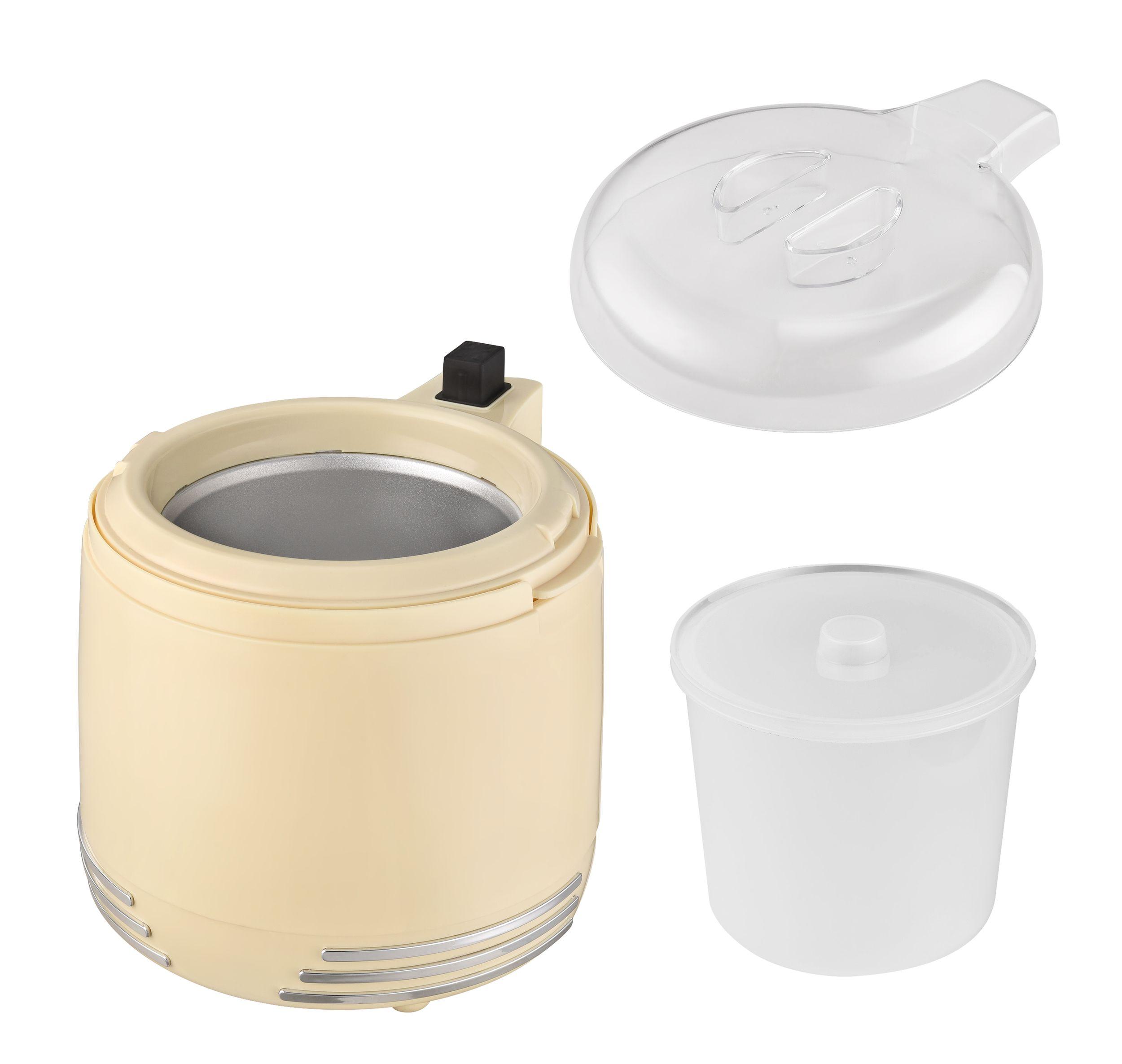 2 in 1 Retro Eismaschine Joghurtbereiter Eiscreme Joghurt Maker Kühlgefäß creme-weiß NEU 15 W *93053 Bild 8