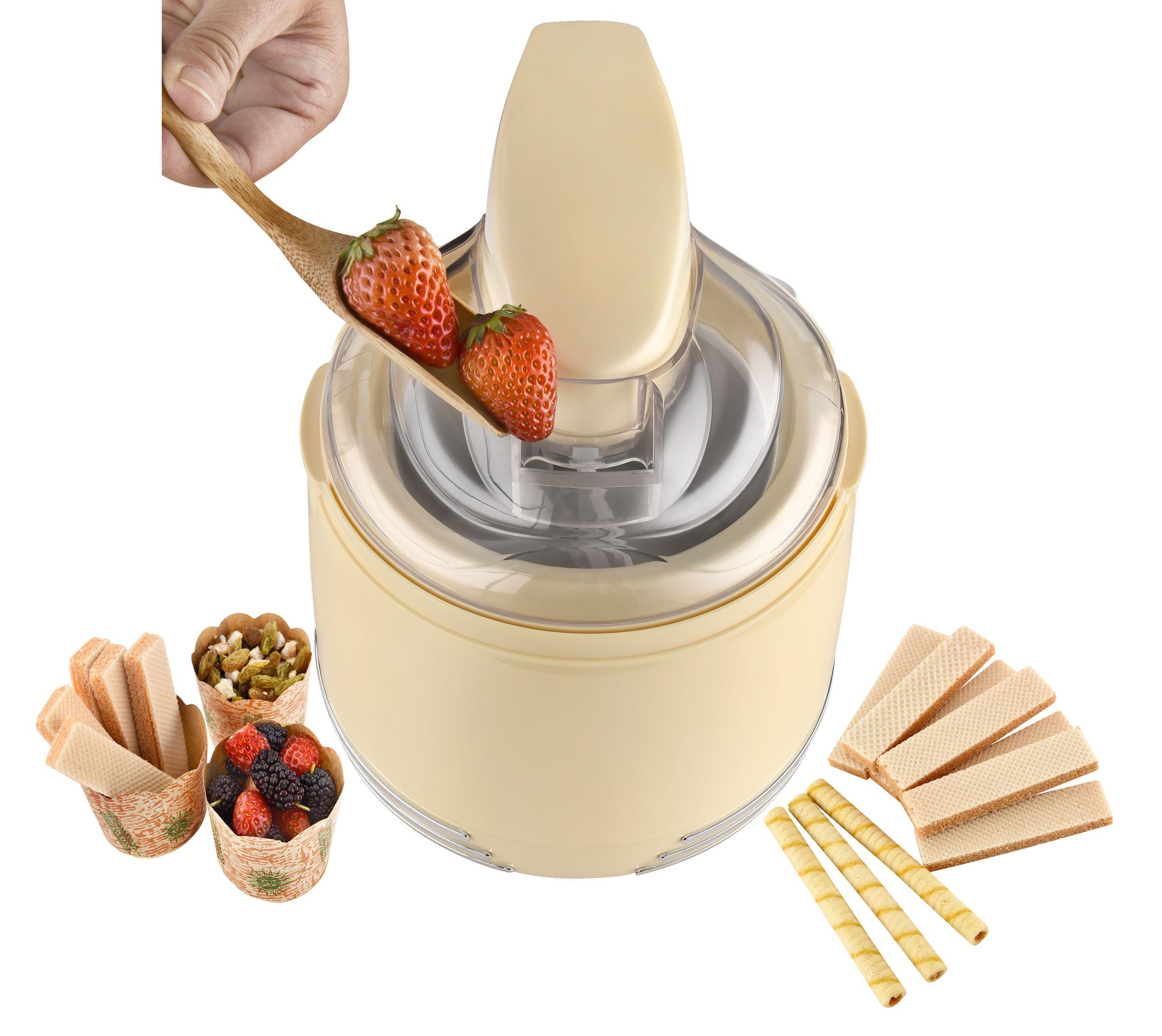 2 in 1 Retro Eismaschine Joghurtbereiter Eiscreme Joghurt Maker Kühlgefäß creme-weiß NEU 15 W *93053 Bild 2