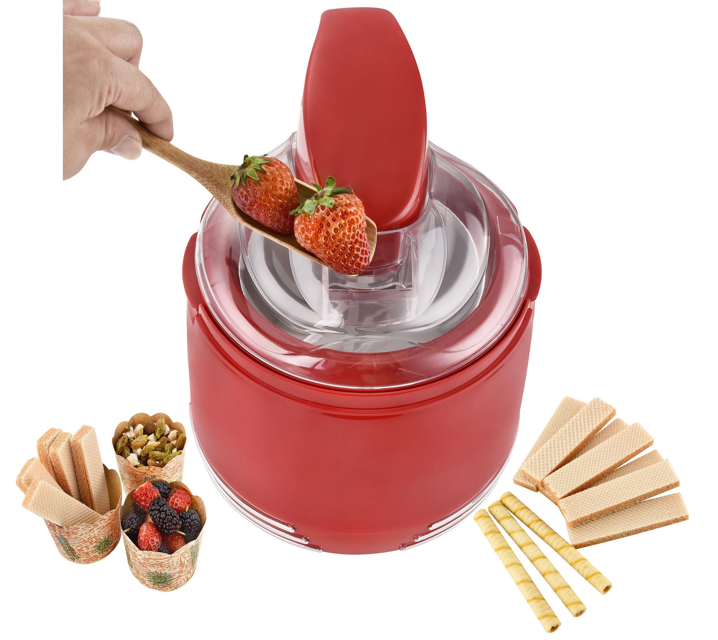 2 in 1 Retro Eismaschine Joghurtbereiter Eiscreme Joghurt Maker Kühlgefäß rot NEU 15 W *94074 Bild 2