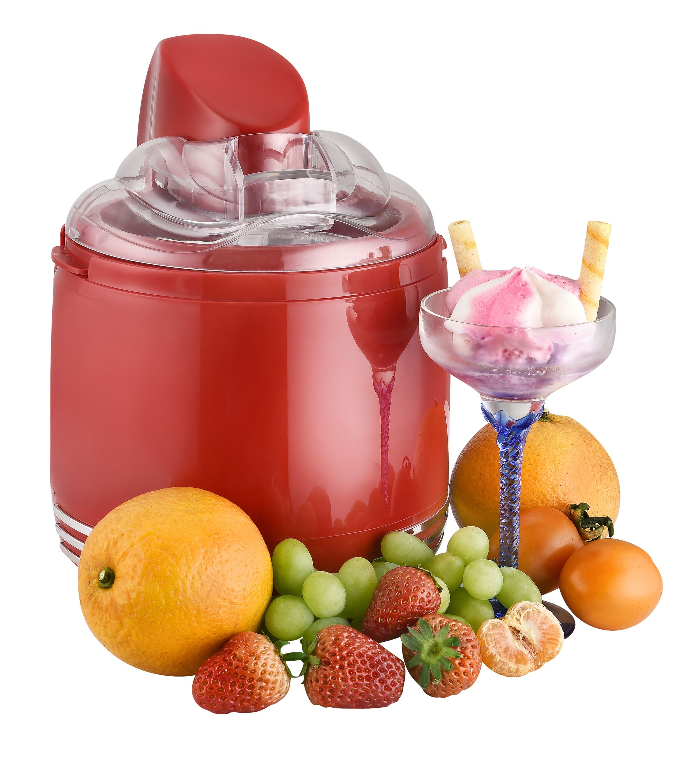 2 in 1 Retro Eismaschine Joghurtbereiter Eiscreme Joghurt Maker Kühlgefäß rot NEU 15 W *94074