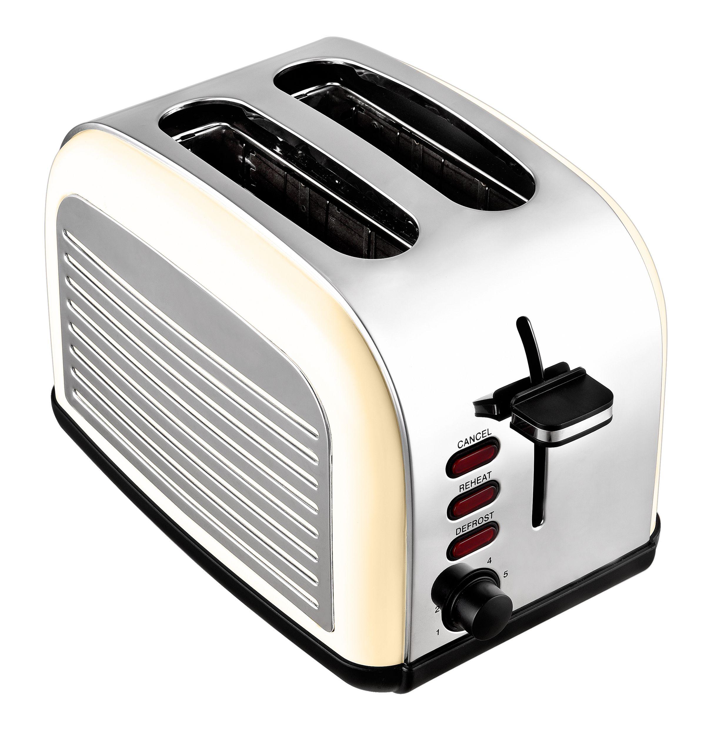 2-Scheiben-Edelstahltoaster Retro Design creme weiß Brötchenaufsatz NEU*94081 Bild 3