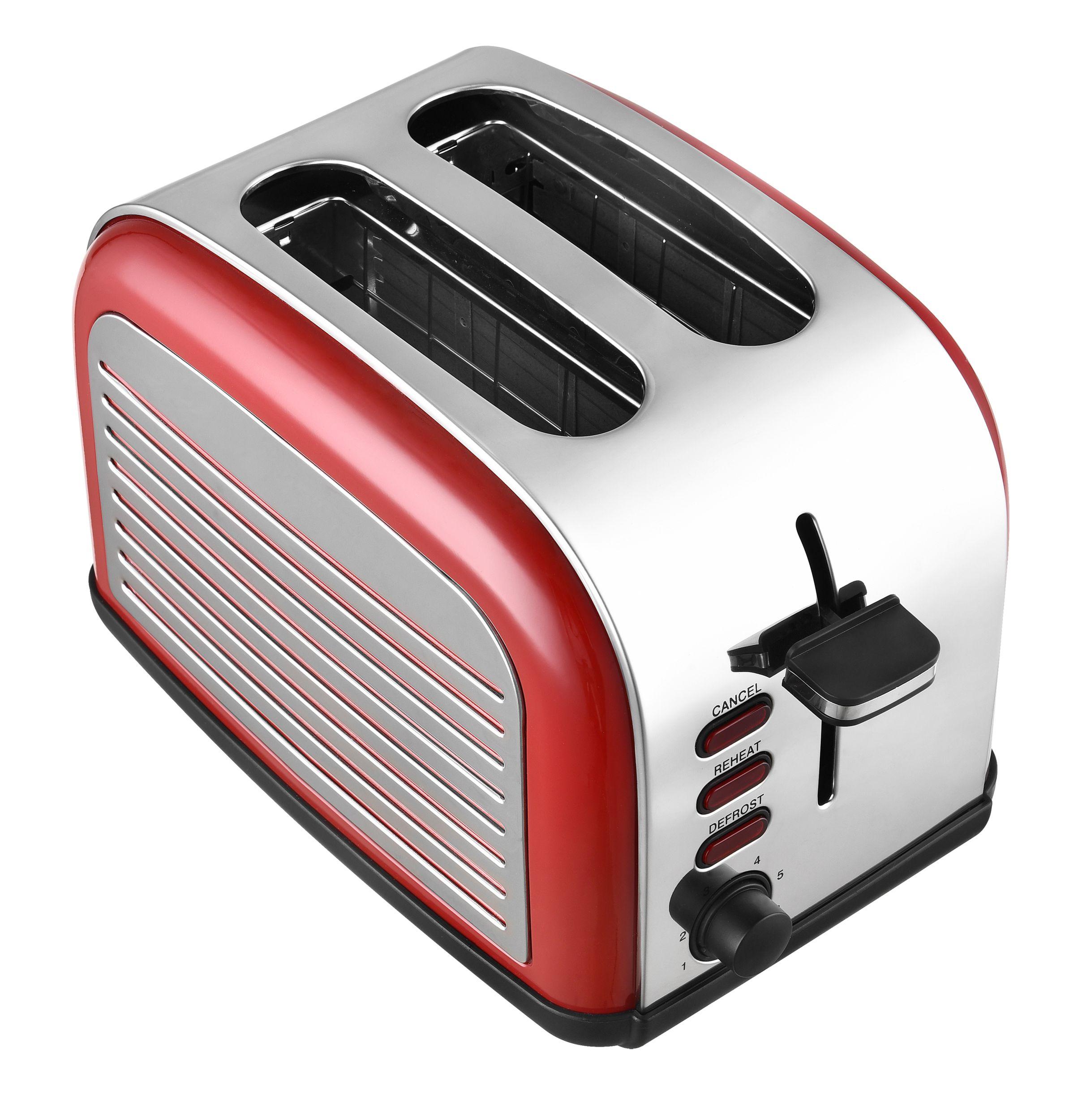 2-Scheiben-Edelstahltoaster Retro Design rot Brötchenaufsatz NEU*91080 Bild 4