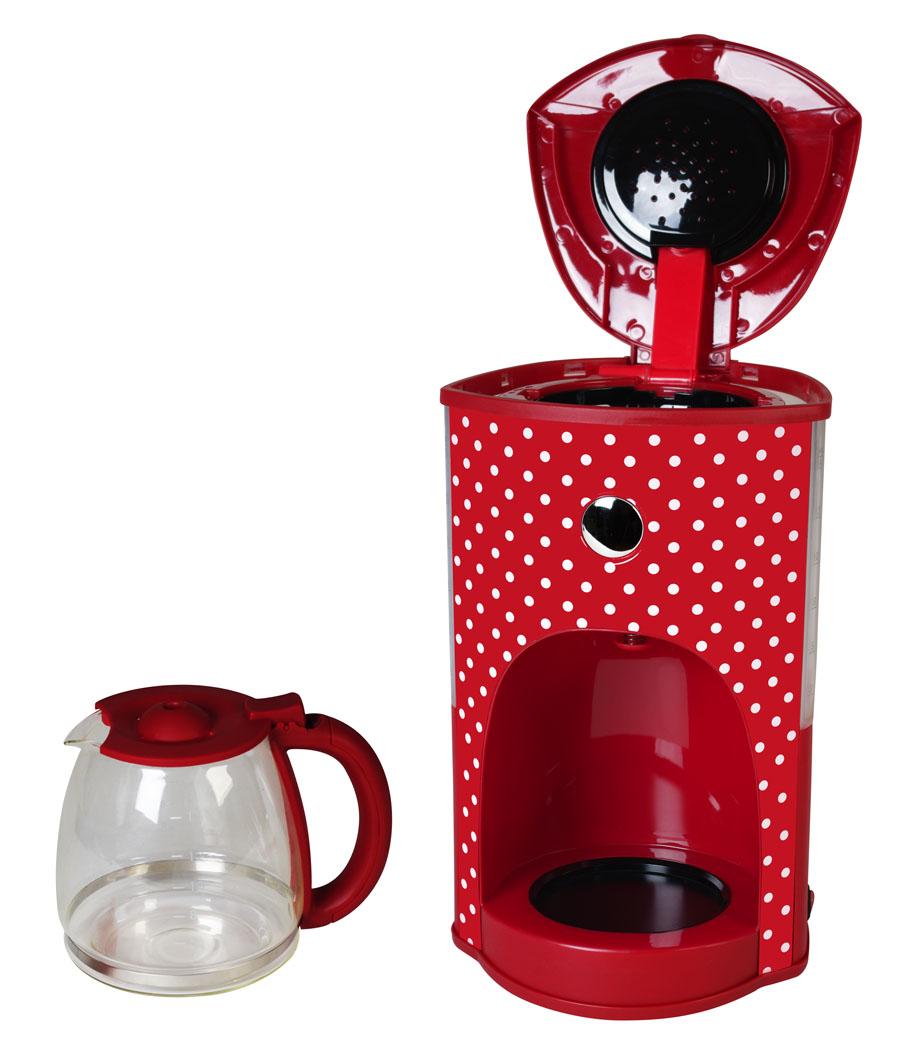Design-Kaffeeautomat rot-weiß gepunktet Glaskanne 1,8 L 15 Tassen Retro 1000W NEU*89773 Bild 4