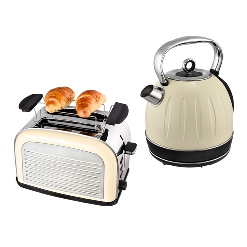 fr hst ck set 2tlg edelstahl wasserkocher 1 7l toaster retro creme wei chrom ebay. Black Bedroom Furniture Sets. Home Design Ideas