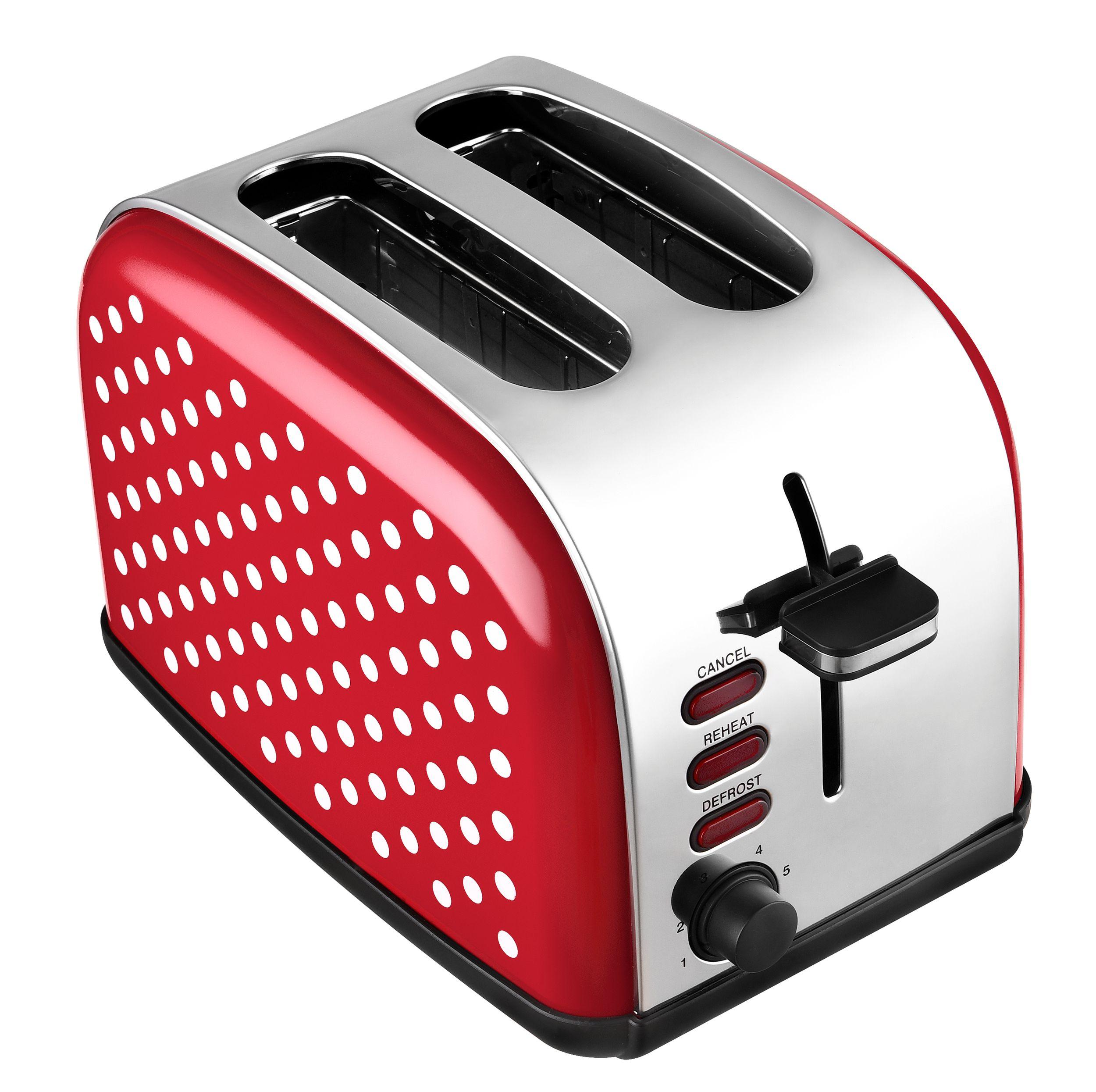 2-Scheiben-Edelstahltoaster Retro-Design rot-weiß gepunktet Brötchenaufsatz NEU*89919 Bild 2