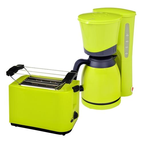 Frühstücksset 2-teilig 2-Scheiben Toaster Thermo-Kaffeemaschine 8 Tassen Lemon Grün