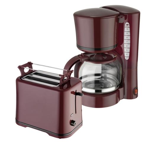 Frühstücksset 2-teilig 2-Scheiben-Toaster Kaffeemaschine 1,25 Liter Weinrot Bordeaux
