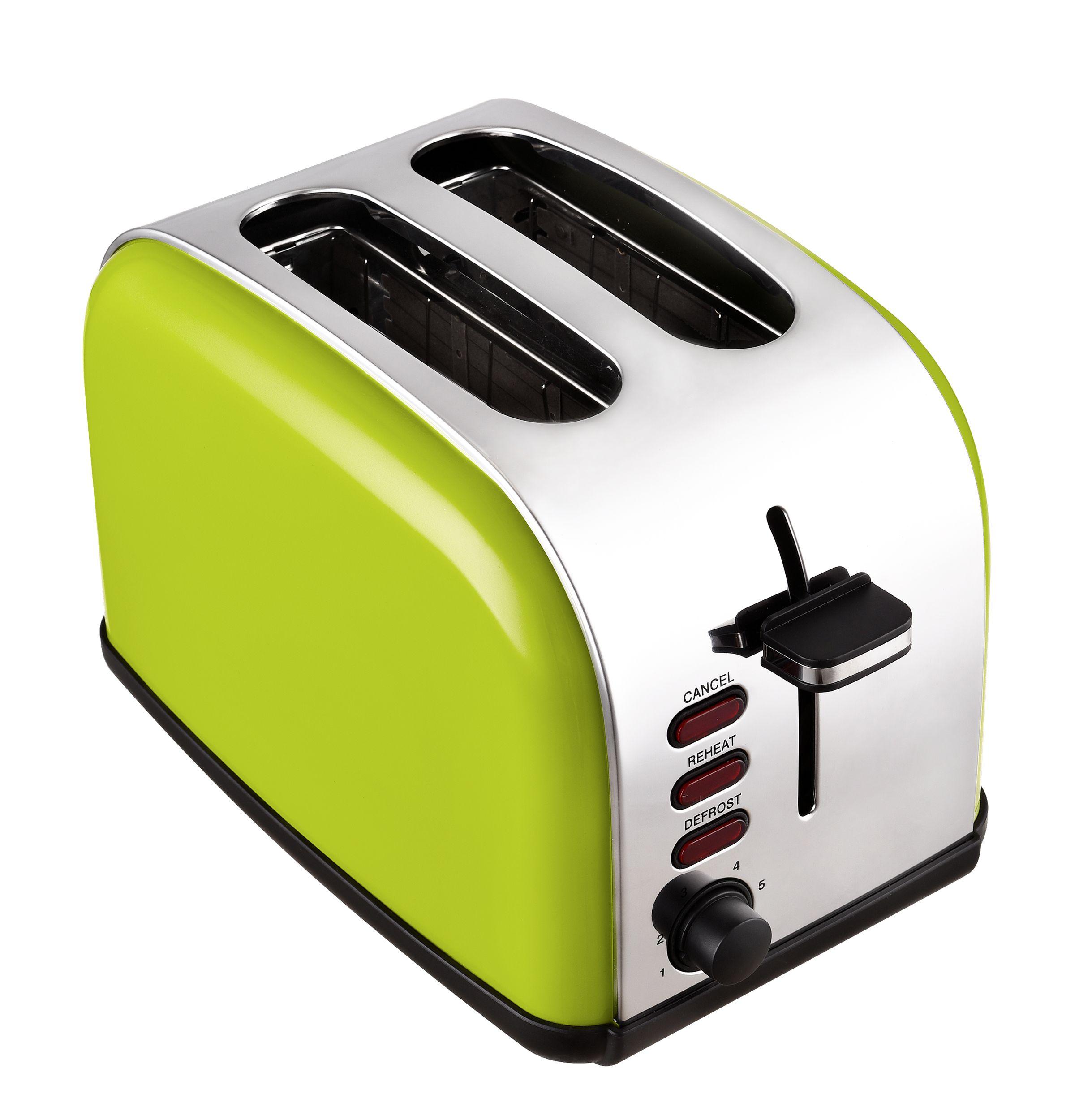 2-Scheiben-Edelstahltoaster Brotröster apfelgrün Brötchenaufsatz 1050W(Karton beschädigt)*92988 Bild 4