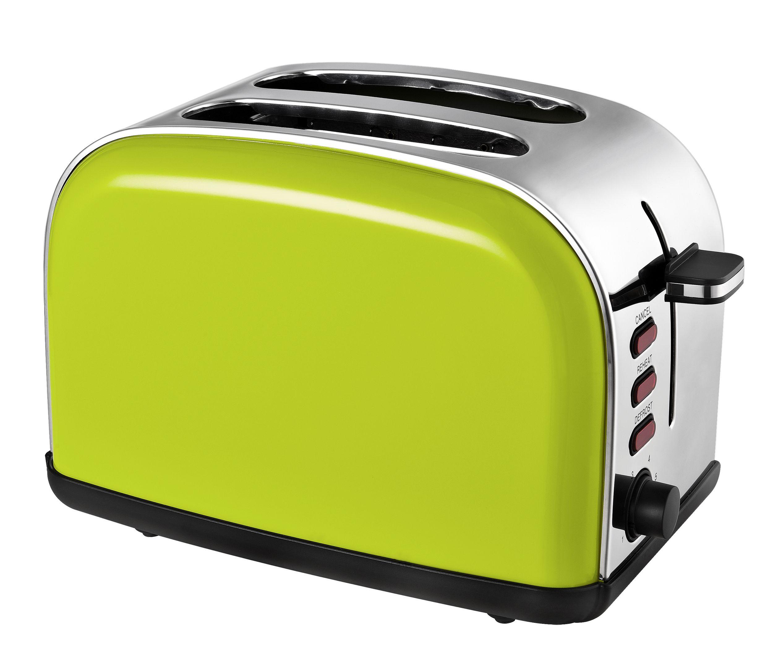 2-Scheiben-Edelstahltoaster Brotröster apfelgrün Brötchenaufsatz 1050W(Karton beschädigt)*92988 Bild 3