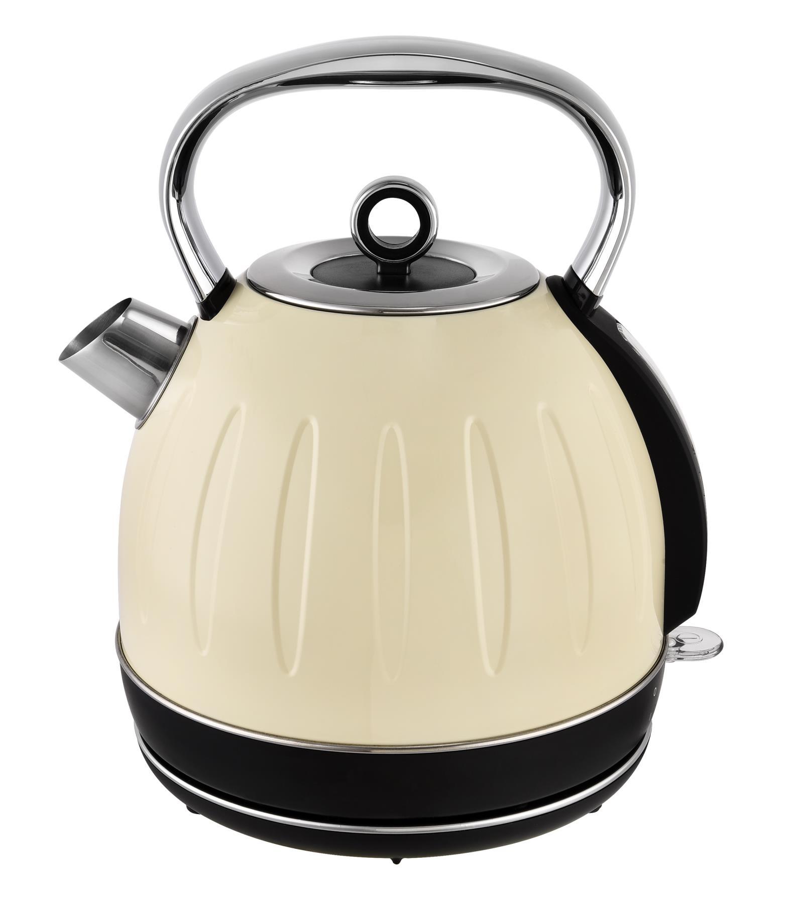 Küchenset Edelstahl 3-teilig 2-Scheiben Toaster Wasserkocher 1,7 L Miniofen 19,5L Retro Creme-Weiß Bild 2