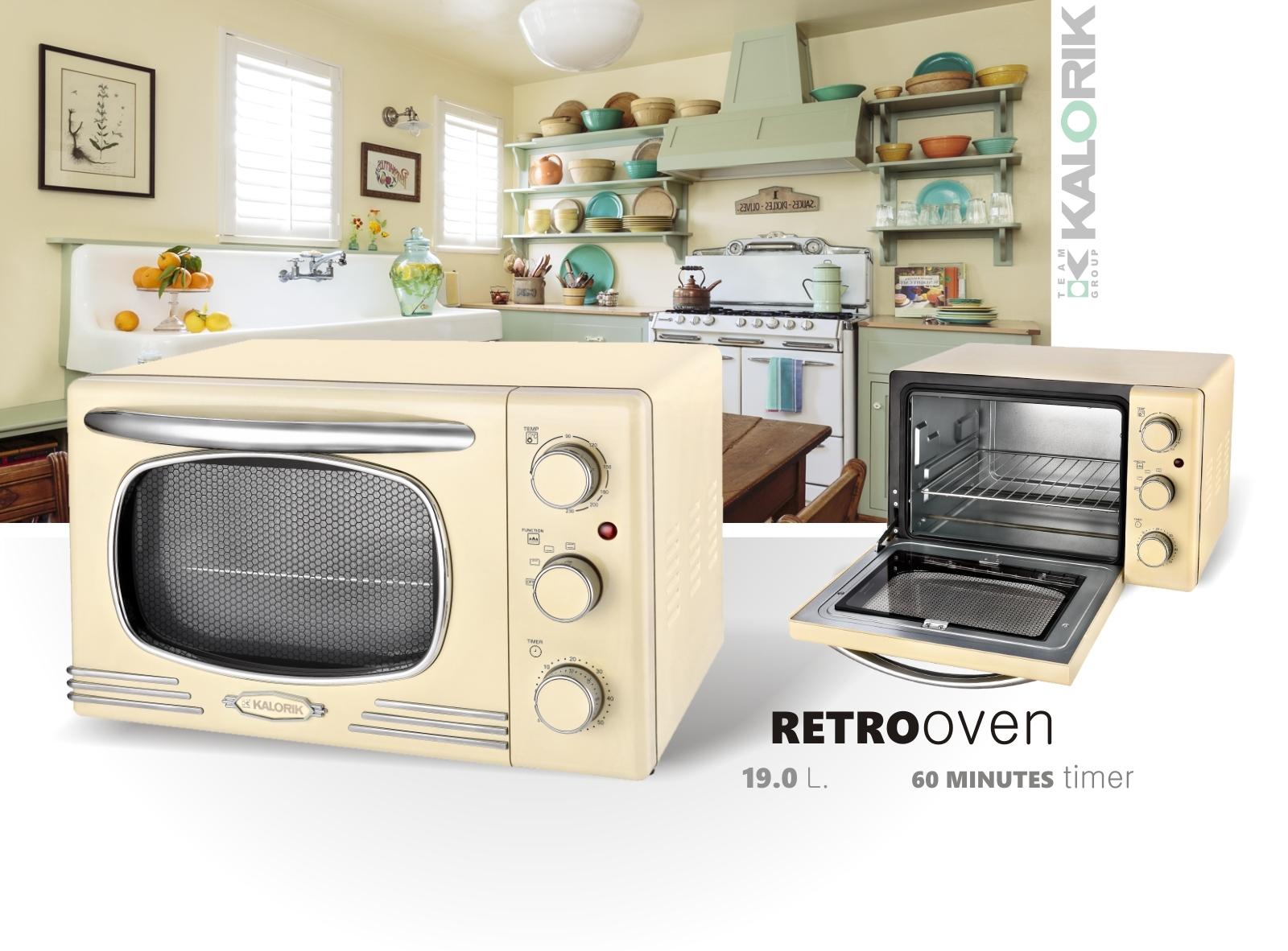 Küchenset Edelstahl 3-teilig 2-Scheiben Toaster Wasserkocher 1,7 L Miniofen 19,5L Retro Creme-Weiß Bild 9
