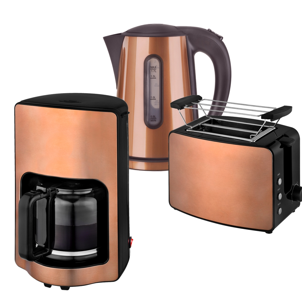 Frühstücksset 3-teilig Toaster 1,7L Wasserkocher Kaffeemaschine 1,9L Havanna Kupfer Braun