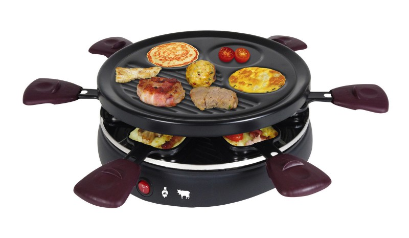 Gourmet Raclette Grill rund 25 cm 6 Personen Pfännchen Überbacken 800 Watt (Karton beschädigt)*48305