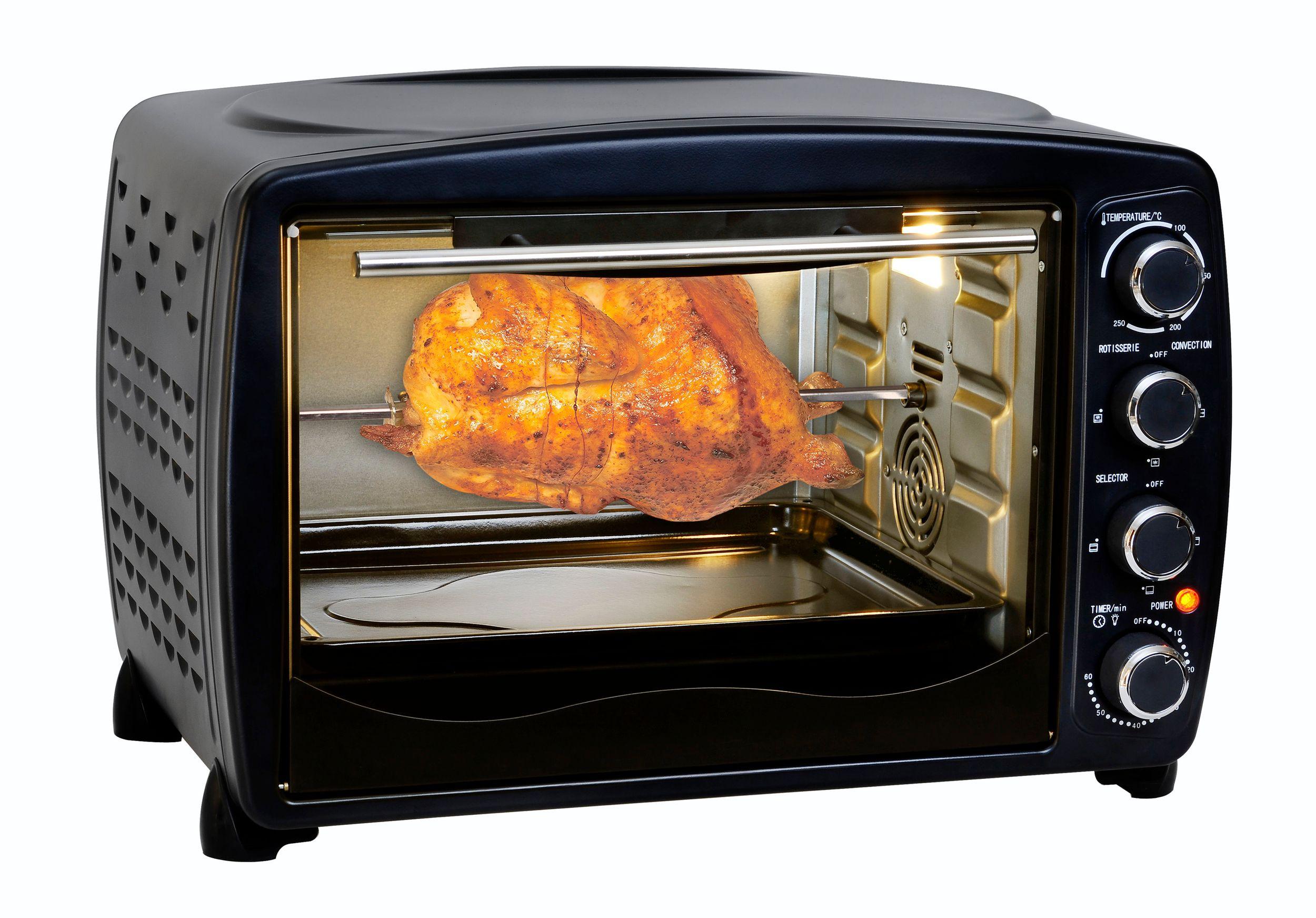 Multiofen 40L Drehspieß Grill Umluft Beleuchtung bis 250°C schwarz (Karton beschädigt)*28601
