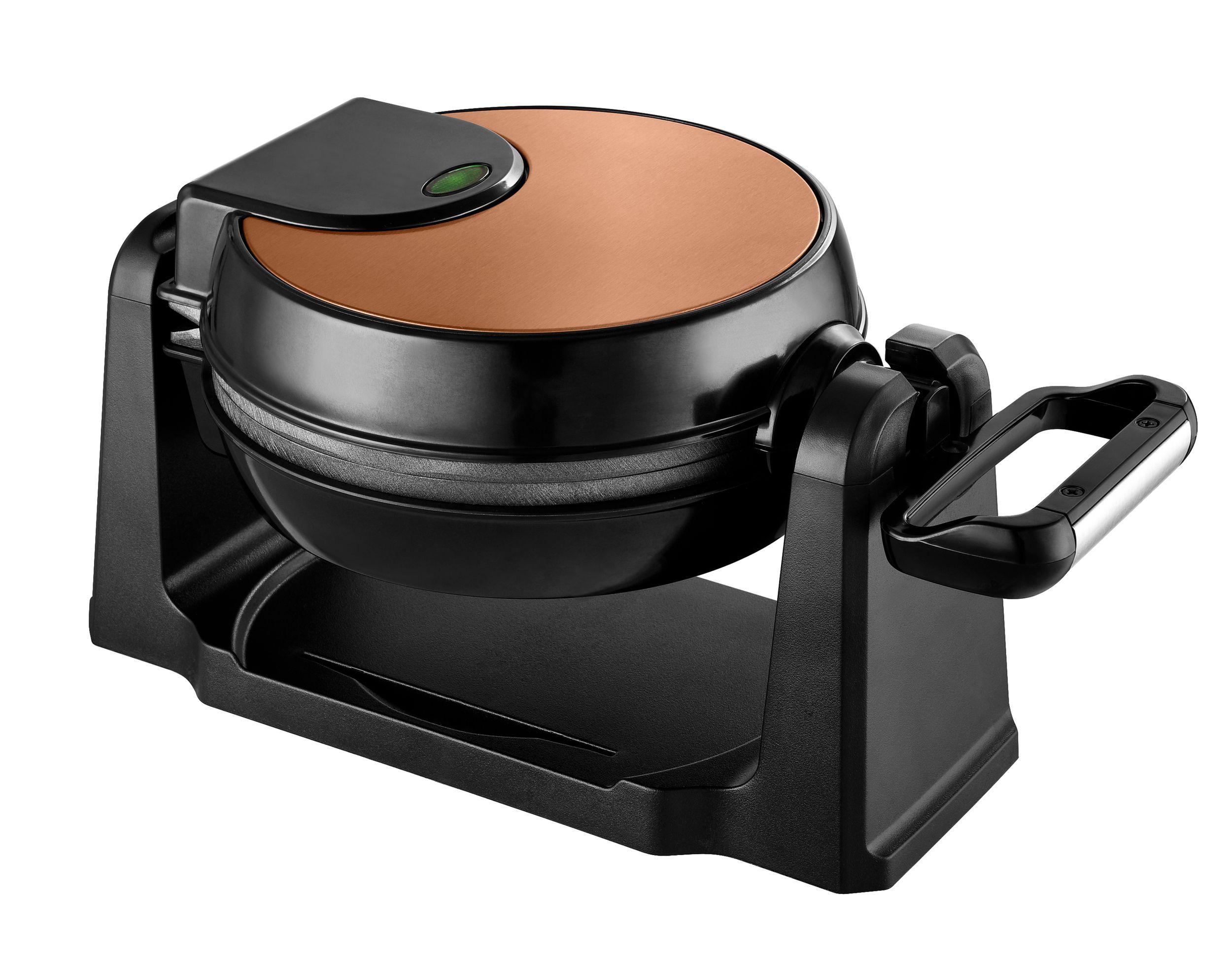Drehbares Wende Waffeleisen Wafflemaker Antihaft Copper Kupfer Thermostat NEU*49197 Bild 4