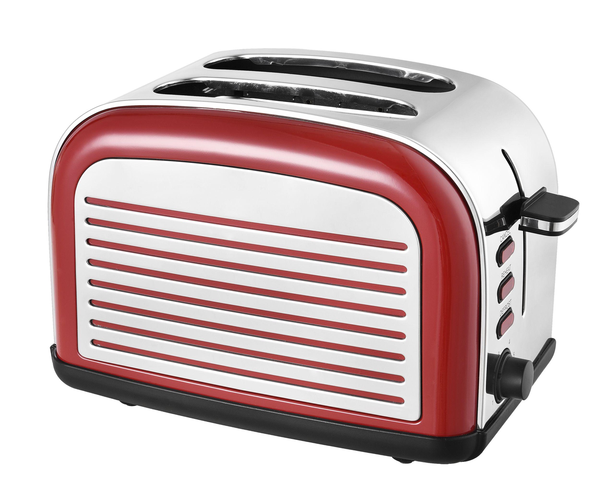 2-Scheiben-Edelstahltoaster Retro Design rot Brötchenaufsatz (Karton beschädigt)*37931 Bild 3