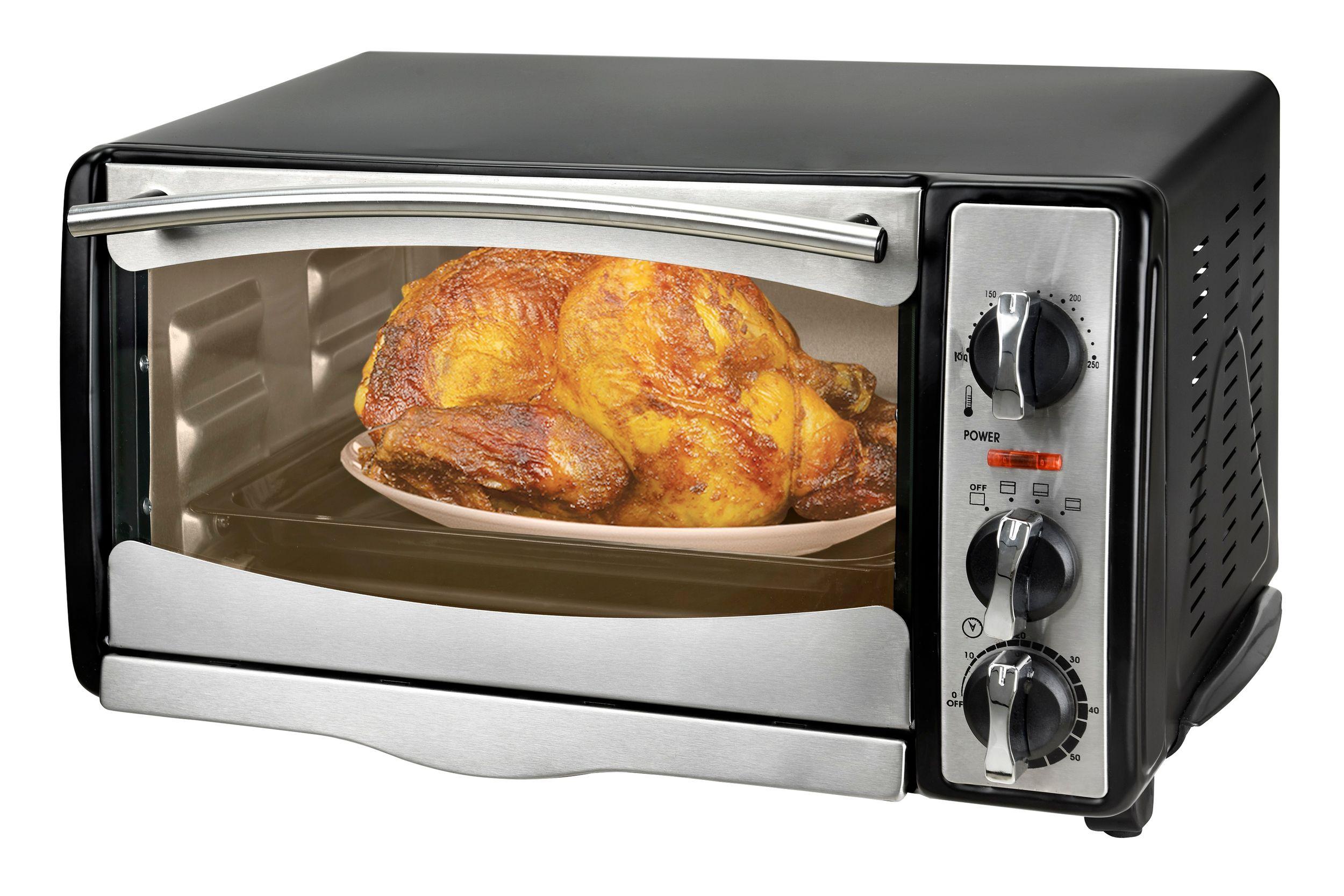 Multiofen 18 Liter Miniofen Pizzaofen schwarz silber Timer Thermostat 250°C (Karton beschädigt)*66620
