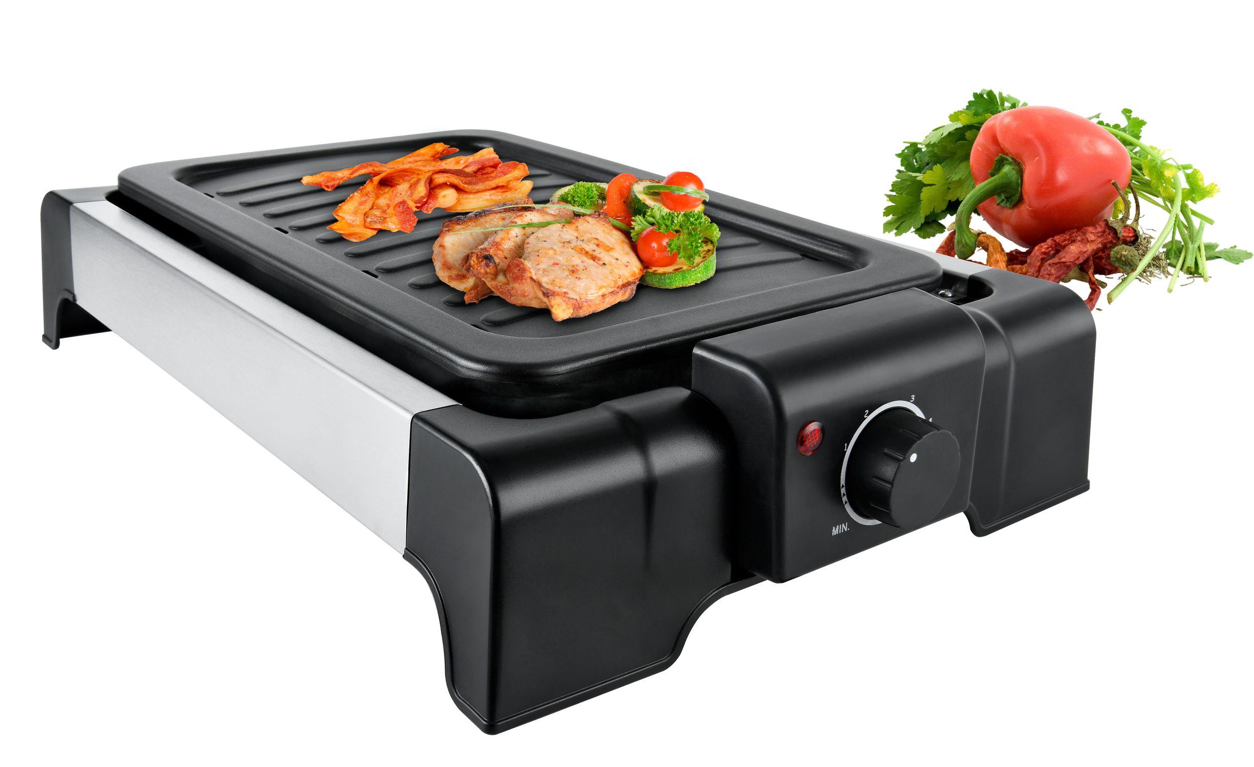 Tischgrill Grillplatte Elektro-Grill innen außen(Karton beschädigt)*35500