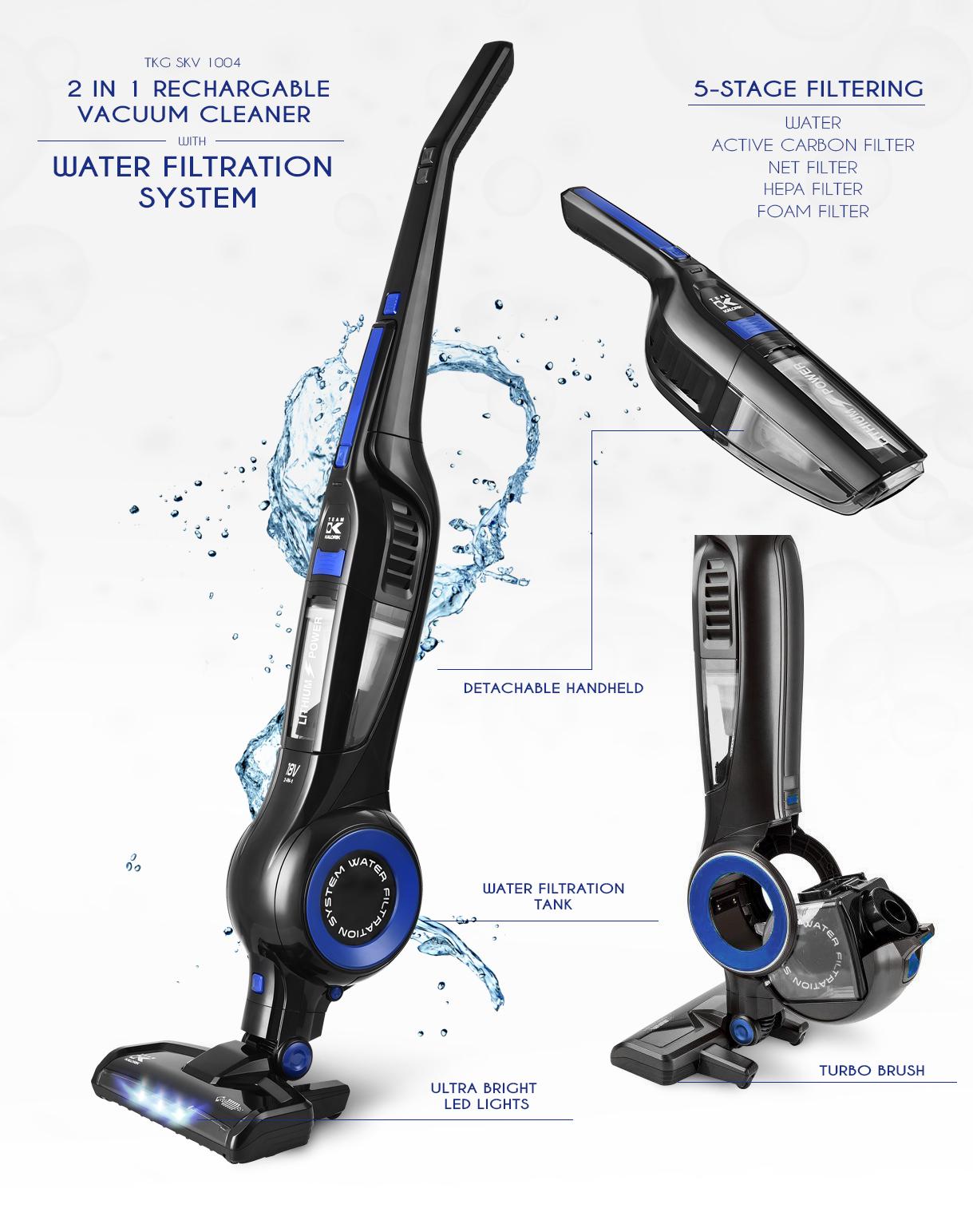2IN1 Akku Wasserfilter Hand Stielstaubsauger beutellos Turbobürste*42782 Bild 2
