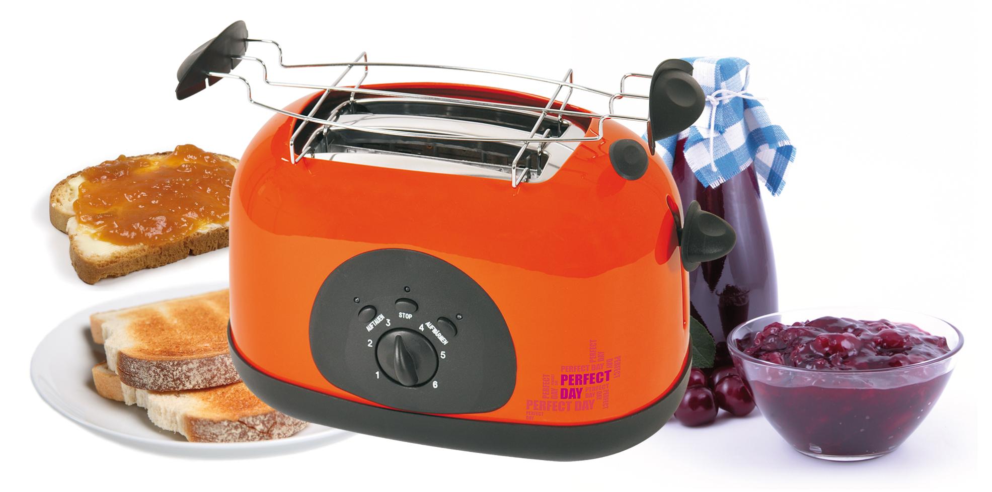 2-Scheiben-Toaster Brotröster orange Brötchenaufsatz Frühstück NEU*10645