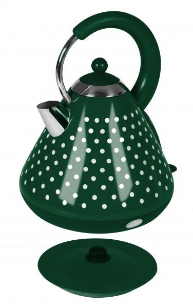 Edelstahl Wasserkocher 1,7 L 3000 W grün weiß gepunktet (B-Ware)*44116 Bild 2