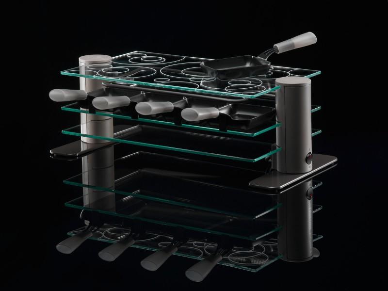 Design Glasraclette 8 Personen Pfännchen Überbacken(Karton beschädigt*24146