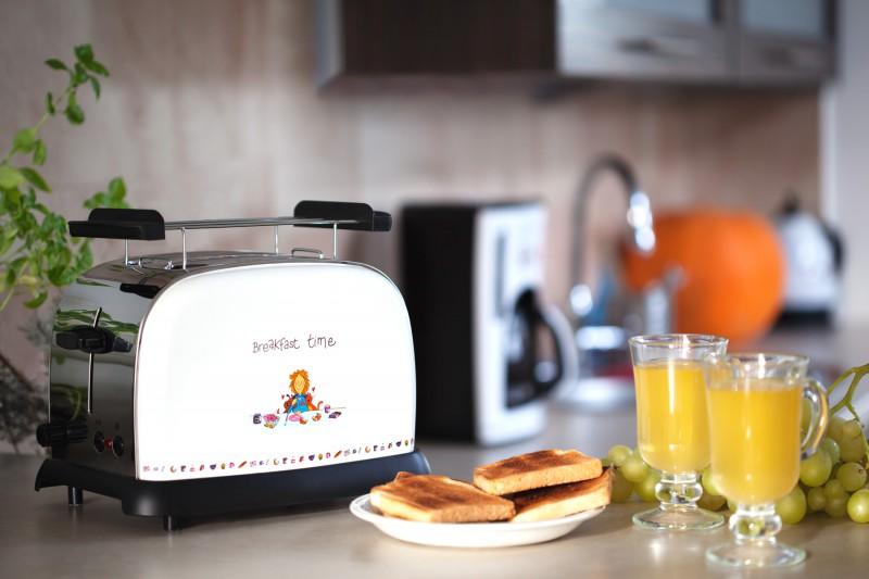 2-Scheiben-Toaster weiß Cartoon-Motiv Brötchenaufsatz (Karton beschädigt)*35159