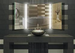 Design Klappspiegel / Badspiegel mit Beleuchtung - mit rückseitig satinierten Neon- Beleuchtungsfeldern, Fertigung nach Maß ab 40x40cm.