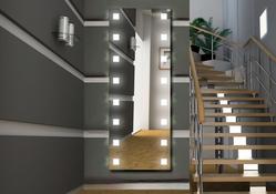 Design Flurspiegel / Wandspiegel mit Beleuchtung - mit rückseitig satinierten Halogen - Beleuchtungsfeldern, Fertigung nach Maß ab 40x40cm.