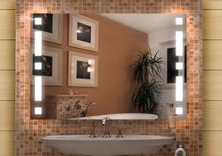 Design Badspiegel mit Beleuchtung - mit rückseitig satinierten Neon- Beleuchtungsfeldern, Fertigung nach Maß ab 40x40cm.