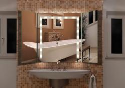 Design Klappspiegel / Badspiegel mit Beleuchtung - mit rückseitig satinierten Halogen - Beleuchtungsfeldern, Fertigung nach Maß ab 40x40cm.