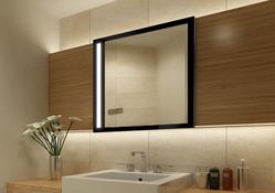 Design Wandspiegel - Badspiegel mit Beleuchtung - mit rückseitig satinierten Neon-Beleuchtungsfeldern, Maße ab 40x40cm.