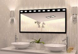 Design Wandspiegel - Badspiegel mit Beleuchtung - mit rückseitig satinierten Halogen-Beleuchtungsfeldern, Maße ab 40x40cm.