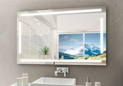 Design Badezimmerspiegel mit Beleuchtung - mit rückseitig satinierten Flächen-LED Beleuchtungsfeldern, Fertigung nach Maß ab 40x40cm.