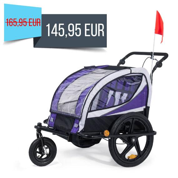 SAMAX Children Bike Trailer 2in1 Jogger 360° rotatable Stroller